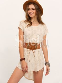 Apricot+Short+Sleeve+High+Low+Dress+12.99