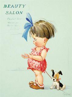 Illustration by Charles Twelvetrees- Beauty Salon Posters Vintage, Retro Poster, Vintage Prints, Vintage Pictures, Vintage Images, Cute Pictures, Illustration Inspiration, Children's Book Illustration, Girl Illustrations