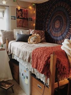 Bohemian Room with Lace Bedding and Tapestry