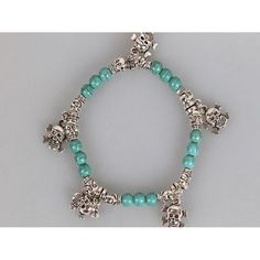 Turquoise bead skull stretch bracelet Available from www.skullaccessories.co.uk