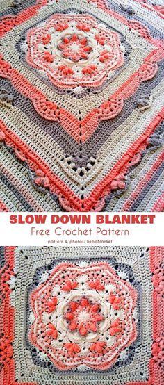 Slow Down Blanket Free Crochet Pattern cal Haken Slow Down Blanket CAL. Slow Down Blanket Free Crochet Pattern cal Haken Slow Down Blanket CAL Free Crochet Patte Crochet Afghans, Crochet Squares Afghan, Knit Crochet, Blanket Crochet, Ripple Afghan, Crochet Cushions, Crochet Blocks, Crochet Pillow, Baby Afghans