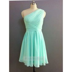 Items similar to Mint Bridesmaid Dress, Mint Prom Dress, Mint Short... ❤ liked on Polyvore featuring dresses, chiffon cocktail dress, vintage dresses, one shoulder bridesmaid dresses, one shoulder cocktail dress and short chiffon dress #vintagepromdresses