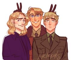 Long time, no see~~~~~ <<< Blond Trio~<>><>>>>>> umm half the characters are blonde so you gotta be more specific