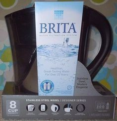 New BRITA Stainless Steel Water Pitcher & TWO FILTERS 8 Cup BPA Free DRINK CLEAN #Brita