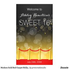 Modern Gold Red Carpet Hollywood Sweet 16 Banner