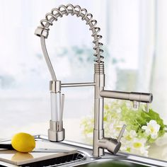 69.43$  Buy now - http://ali3oh.worldwells.pw/go.php?t=32568236838 - BEST Nickel Brushed Kitchen Swivel Spout Faucet Double Water Outlet Kitchen Sink Pull Down Spray Hot & Cold Water Mixer Taps 69.43$