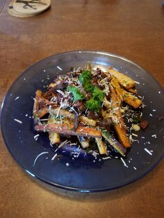 Week 50: Umami - Carrot and Parsnip Fries with Black Truffle Oil Parmesan Bacon and Beef #food