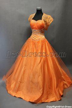 2698a5d970 1st-dress.com Offers High Quality Pretty Orange Organza Long Quinceanera  Dress with Bolero