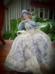 Antique German Half Doll with Pincushion