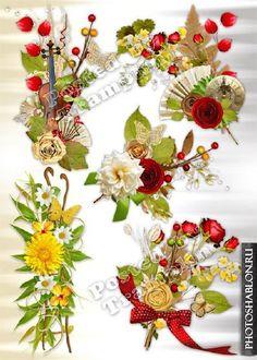 PSD и PNG клипарт (на прозрачном фоне) - Цветы, цветочные элементы - Фотошаблоны. Шаблоны для фотошопа, скачать бесплатно