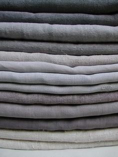 Shades of grey French 19th century dyed linen and hemp sheets from Altes…