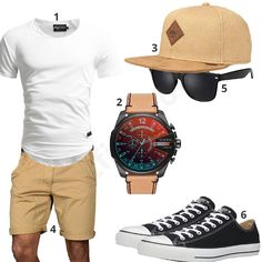 Mens summer outfit with white A Salvarini jeans black Converse sneakers beige Indicode shorts Djinns snapback cap Diesel mens wristwatch and sunglasses 1 Shirt Black Converse Outfits, Black Shorts Outfit, Converse Sneakers, Converse Fashion, Sneakers Style, Casual Shorts, Look Fashion, Mens Fashion, Fashion Outfits