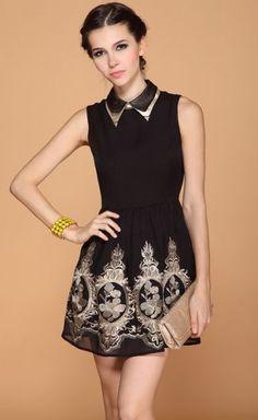 #SheInside Black Lapel Sleeveless Zipper Embroidery Dress - Sheinside.com