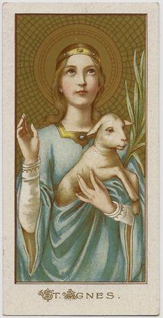 Agnes Andachtsbild ca. Catholic Art, Catholic Saints, Roman Catholic, Religious Art, Sacred Groves, Vintage Holy Cards, St Agnes, Religious Pictures, Prayer Cards