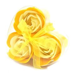 Set of 3 soap flowers heart box - yellow roses