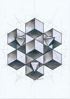 #solid #polyhedra #geometry #symmetry #mathart #regolo54 #Escher #circle #hexagon #cube #pencil