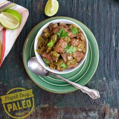 """""""Hi there! Steph from @stupideasypaleo back with my recipe for Pork Chile Verde. This is such a great recipe that can be doubled to give you extra protein for the week ahead. It's great served with cauliflower rice and guacamole for a complete meal! - Ingredients 2 to 2-1/2 lb pork shoulder, pork butt or Boston butt 1 tsp sea salt 1 tsp ground cumin 1 tsp ground coriander ½ tsp black pepper 1 tbsp ghee ½ large onion, diced 3 Hatch green chiles*, seeded and diced ¾ lb tomatillos, husk removed…"""
