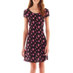 Olsenboye® Cap-Sleeve Print Dress  found at @JCPenney