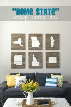 DIY Home State Scrap-Wood Art....proudly display where you live(d). --- Make It and love It