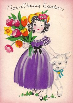 Vintage 1946 For A Happy Easter Greetings Card (B8a)