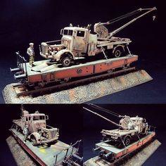 """Whoa!"" diorama. Modeler Hu T C Stephen #scalemodel #plastimodelismo #rust #ferrugem #enferrujado #railway #trem #plasticmodel #plastimodelo #plastickits #usinadoskits #udk #hobby #diorama"