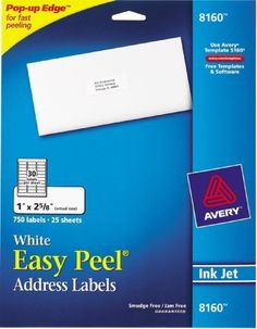 Avery Easy Peel Address Labels  Inkjet Printers  White  1 x 2.62 Inch  Box of 750 labels (25 Sheets / 30 per Sheet) (08160): http://www.amazon.com/Avery-Address-Labels-Printers-08160/dp/B00004Z5SM/?tag=theaffilia046-20