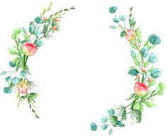 Картинки (разное) - 2 Flower Circle, Flower Frame, Wreath Watercolor, Watercolor Flowers, Decoupage, Circle Drawing, Baby Food Jar Crafts, Frame Wreath, Wedding Frames