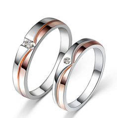 925 Sterling Silver Couple Rings With AAA CZ