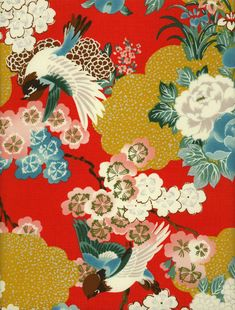 This print from Hyakka Ryoran has birds, clouds and flowers on red fabric. The birds range from about 3-1/2 to 4 inches from beak tip to tail tip and the flowers range from about 1 to 3-1/2 inches. There are pinks, blue, greens and yellow with silver metallic highlights throughout. The pattern repeats about every 24 inches. This is 44/45 wide 100% cotton fabric and is manufactured by Quilt Gate Fabrics. The fabric is new, continuous and off the bolt. This item is sold by the ...