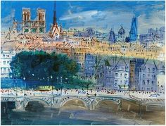 Paris, Point Neuf by Raoul Dufy (French Raoul Dufy, Georges Seurat, Georges Braque, Monet, Art Fauvisme, Maurice Utrillo, Pont Paris, Modernisme, Post Impressionism