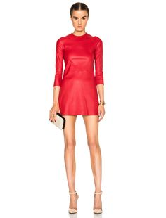 ThePerfext Harlem Leather Dress in Red