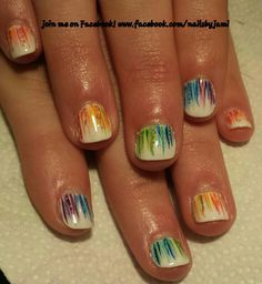 Shellac Rainbow nails. Follow me on facebook at www.facebook.com/nailsbyjami St patricks day nail art, St patricks day nails. #rainbownails #cutenails #nailart #nailprodigy #cndshellac #glitternails #whitenails #handpainted #peoriail #peoriailnailtech #uniquenails