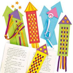These bookmarks are out of this world! Simply weave the coloured ribbon through the pre-cut templates.