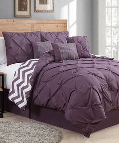 Love this Plum Venice Pinch Pleat Comforter Set on #zulily! #zulilyfinds