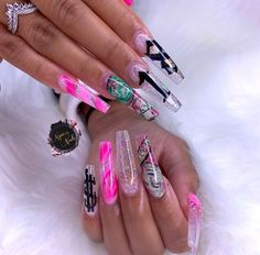 Bling Acrylic Nails, Drip Nails, Aycrlic Nails, Summer Acrylic Nails, Best Acrylic Nails, Glam Nails, Cute Nails, Ongles Bling Bling, Bling Nails