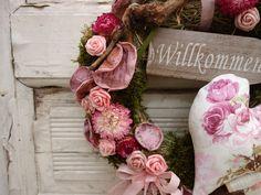 Türkränze - Türkranz Rosen Landhaus Deko romantisch Willkommen - ein Designerstück von missbellflower bei DaWanda