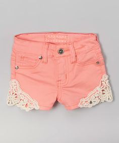 Look at this Salmon Crochet Twill Shorts - Toddler on #zulily today!
