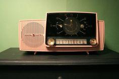 Great pink General Electric AM clock radio.