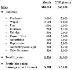 how to do a basic profit and loss sheet in numbers for a small business - Google Search