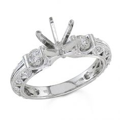 BF1113 - #23500  18 k, white diamond ring 0.46 ct. rounds (Please call for pricing)