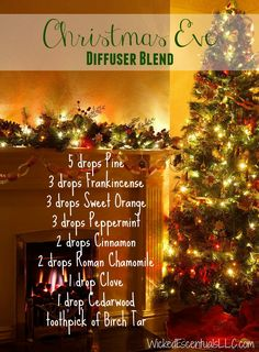 Christmas Eve Diffuser Blend | Master blend; this is way too many drops for a diffuser. Mix in bottle then put a few drops of the master in your diffuser.