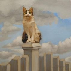 """Daily Paintworks - """"Suburban Warrior story of a domesticated cat"""" - Original Fine Art for Sale - © Diane Hoeptner"""