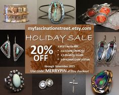 Looking for a unique, hand-crafted gift for someone special... or for yourself?  Get your order in during our annual holiday sale and enjoy 20% off through November.  Visit www.myFascinationStreet.etsy.com