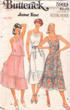 1970s Butterick 5993 Jane Tise Misses Summer Pullover Top Skirt and Dress Pattern Womens Vintage Uncut Sewing Pattern Size 12 Bust 34. $14.00, via Etsy.