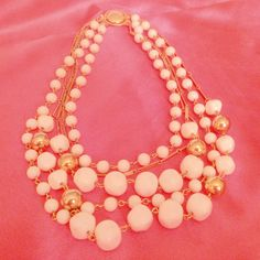 Vintage Gold Tone and White Graduated Multi Strand Necklace by BorrowedTimes on Etsy