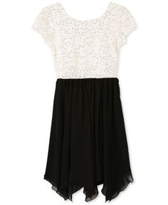 Speechless Sequin-Lace Handkerchief-Hem Dress, Girls Plus (10-20)