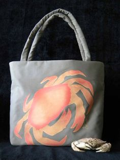 Dungeness crab purse coastal bag 15x15x6 painted by crabbychris, $60.00