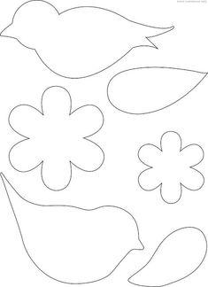 Molde passarinho feltro - Ver e Fazer Quiet Book Patterns, Felt Patterns, Bird Patterns, Applique Patterns, Felt Flower Template, Bird Template, Diy Arts And Crafts, Felt Crafts, Crafts For Kids