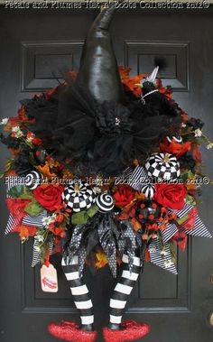 Crashed witch front door decoration