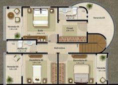 Plano de casa de 140 m2 con 3 dormitorios y diseño moderno-3